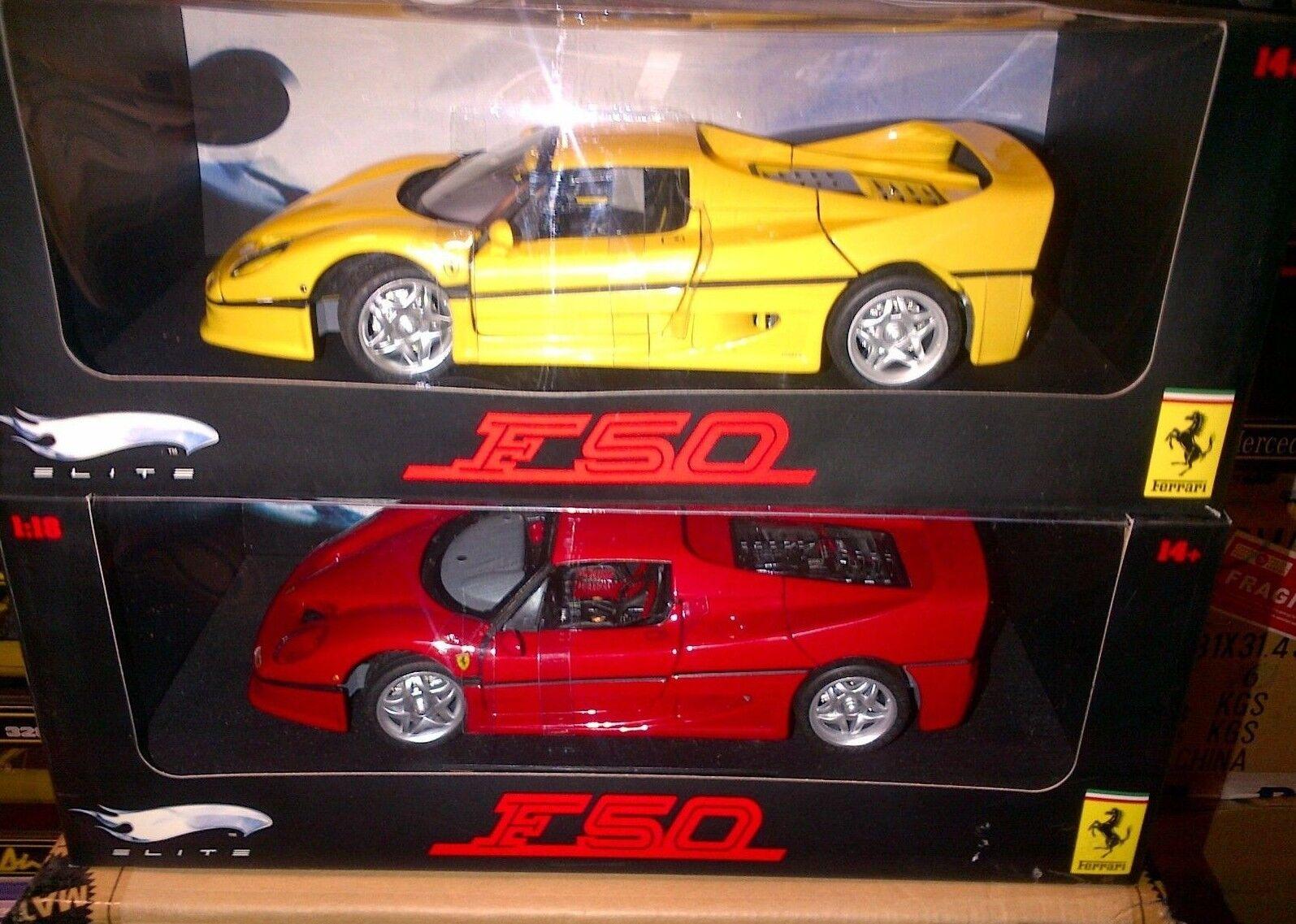 Lote de 2 Modelos Ferrari F50 Rojo y Amarillo Hot Wheels Elite 1:18 Totalmente Nuevo En Cajas