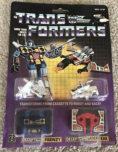 Vintage Transformers 1984 G1 Frenzy and Laserbeak on Card Back