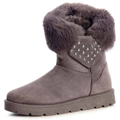 Damenschuhe Stiefel Stiefeletten Worker Boots Booties Kunstfell
