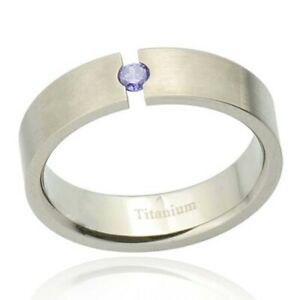 Men/'s Stainless Steel Ring 6mm Groom CZ Wedding Band For Him in Jewelry Gift Box