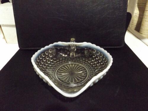 White Rim Fenton Art Glass Hobnail Trinket//Candy Handled Dish