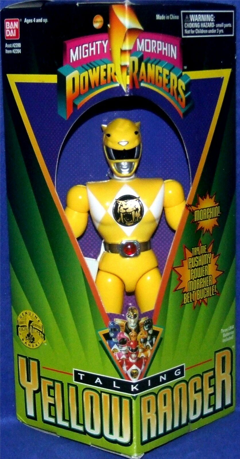 Mighty Morphin Power Rangers Amarillo 8  hablando Ranger Nuevo Sellado De Fábrica 1995