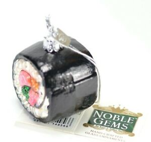 California-Roll-Sushi-Glass-Christmas-Ornament-2-Inch-Wide-NEW