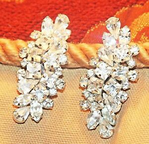 Image Is Loading Spectacular Hattie Carnegie Vintage Rhinestone Large Clip Earrings