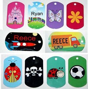 Personalised METAL BAG TAG Luggage key ring School ID Kids TAGS ...