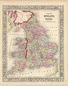 """1864 S.A. Mitchell """"County Map of England and Wales."""""""