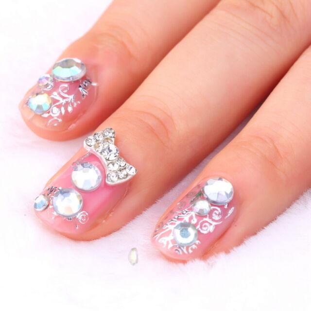300Pcs 3D Rhinestones Glitter Diamond Gems Tips DIY Nail Art Decoration Wheel fo