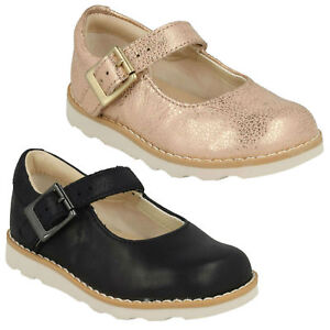 Detalles de Niña Clarks Corona Honor Hebilla Bebé Mary Jane Informal Niños Cuero Shoes Talla