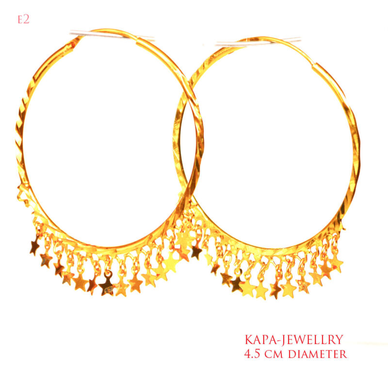 Stunning Large Big Gold Plated Hoop Earrings Large Circle Creole Chic Hoops