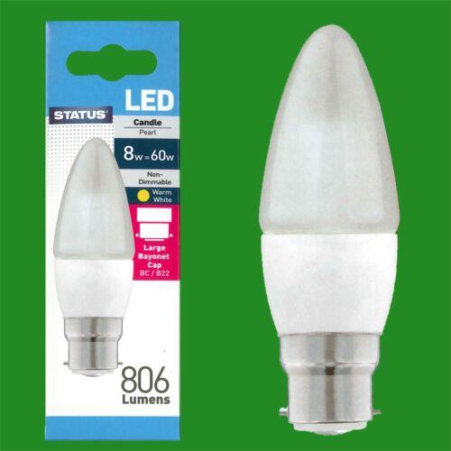 = 60 W 6x 8 W Pearl bougie économie d/'énergie DEL BC B22 Baïonnette Cap Ampoule Lampe