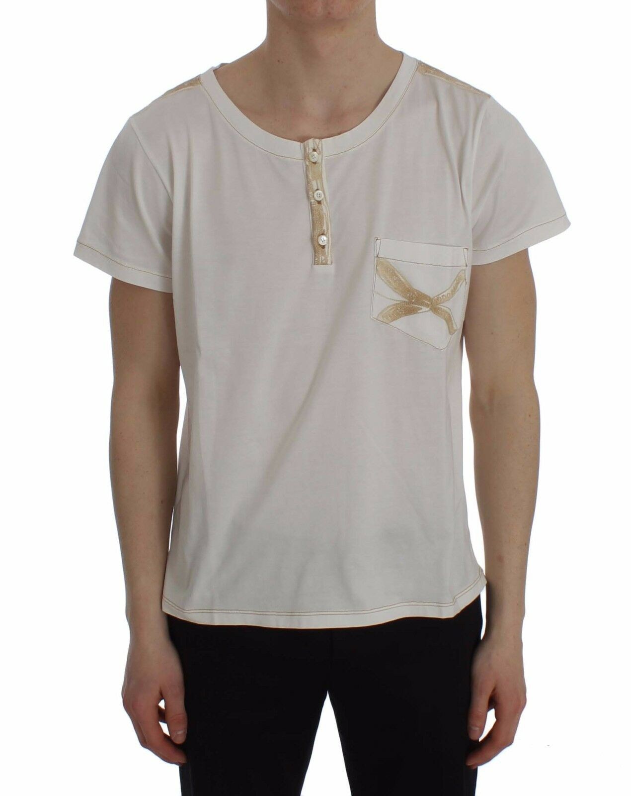 NEW ERMANNO SCERVINO Beachwear T-shirt Weiß Cotton Henley Top s. 48 / M