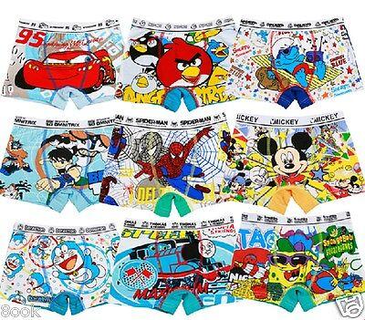 12 Pieces a Dozen Cartoon Cotton Boxer Underwear Underpant for Boys Kid 2T-9T