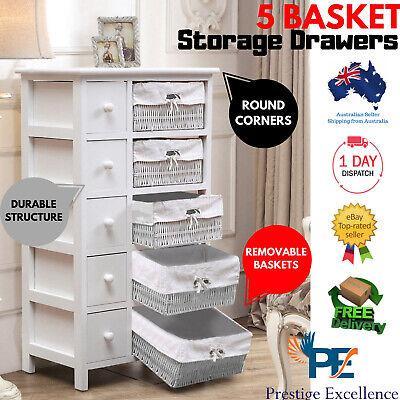 5 Drawers Storage Dresser Wicker Basket