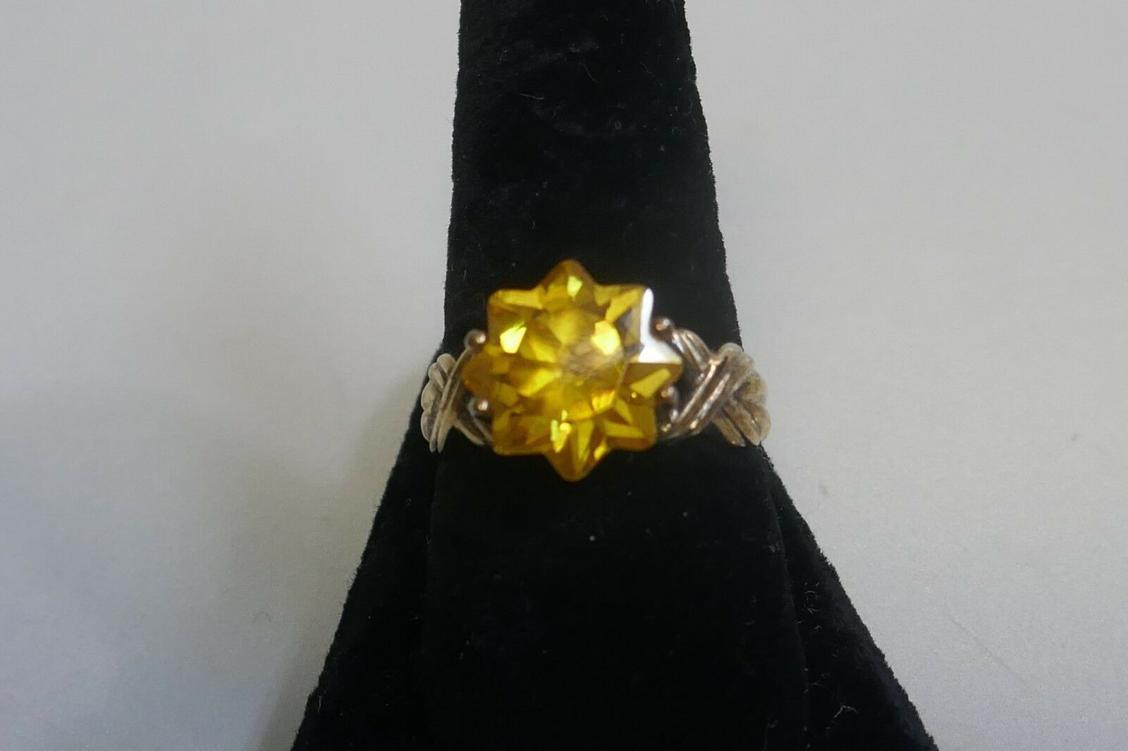 Vintage Designer Vermeil Over Sterling Start Cut Canary Yellow CZ Ring - Size 10