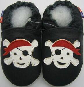 Minishoezoo-Pirat-Nero-3-4y-Suola-Morbida-Pelle-Neonato-Scarpe-Pantofole-Gratis
