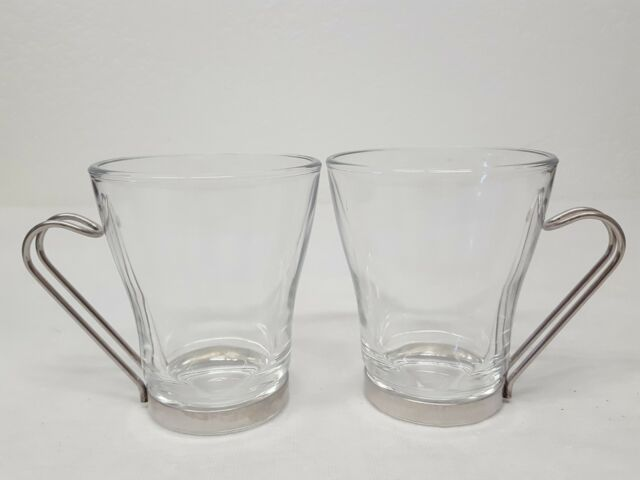 384a8e016 Vintage Vitrosax Italy Glass Coffee Espresso Mugs Metal Handles Set Of 2  for sale online