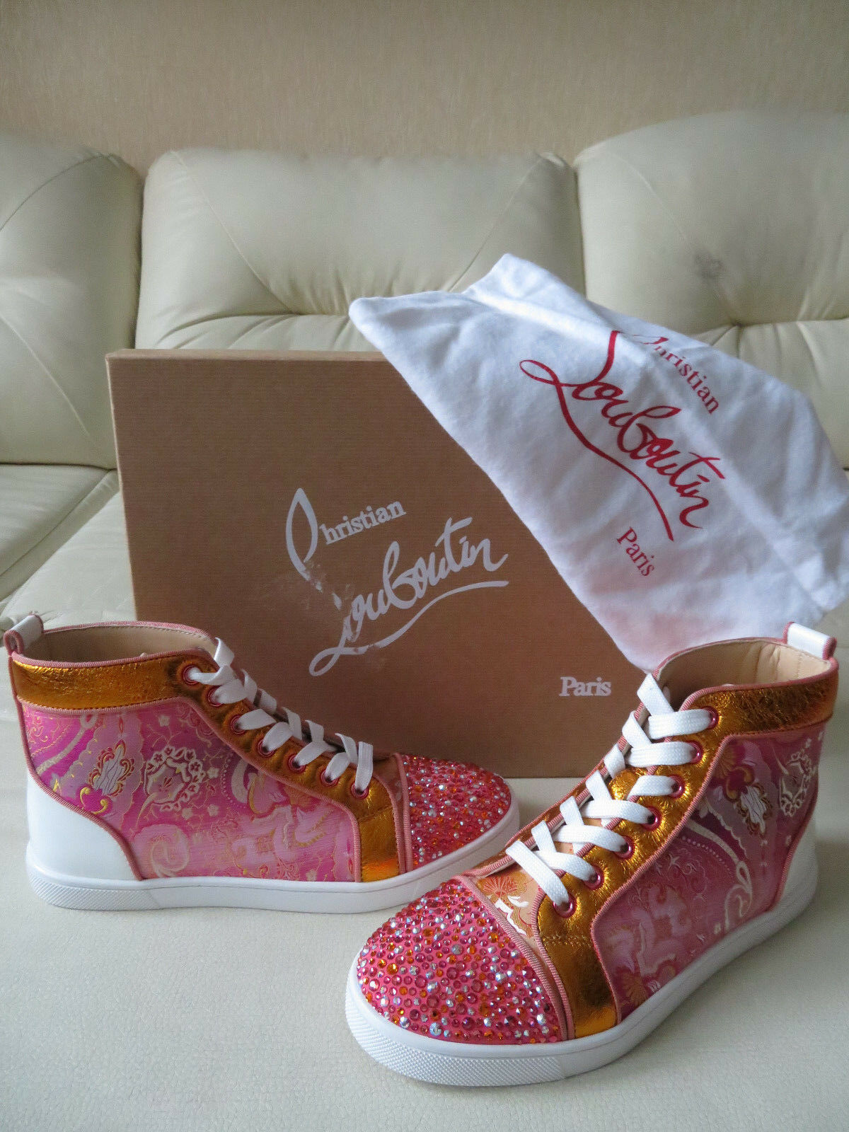 NEW Christian Louboutin Bip Bip Rantus Orlato Multi Strass High Top Sneaker 37.5