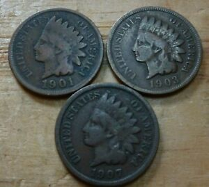 Three-Assorted-Indian-Head-Cents-1859-to-1909-3ICA