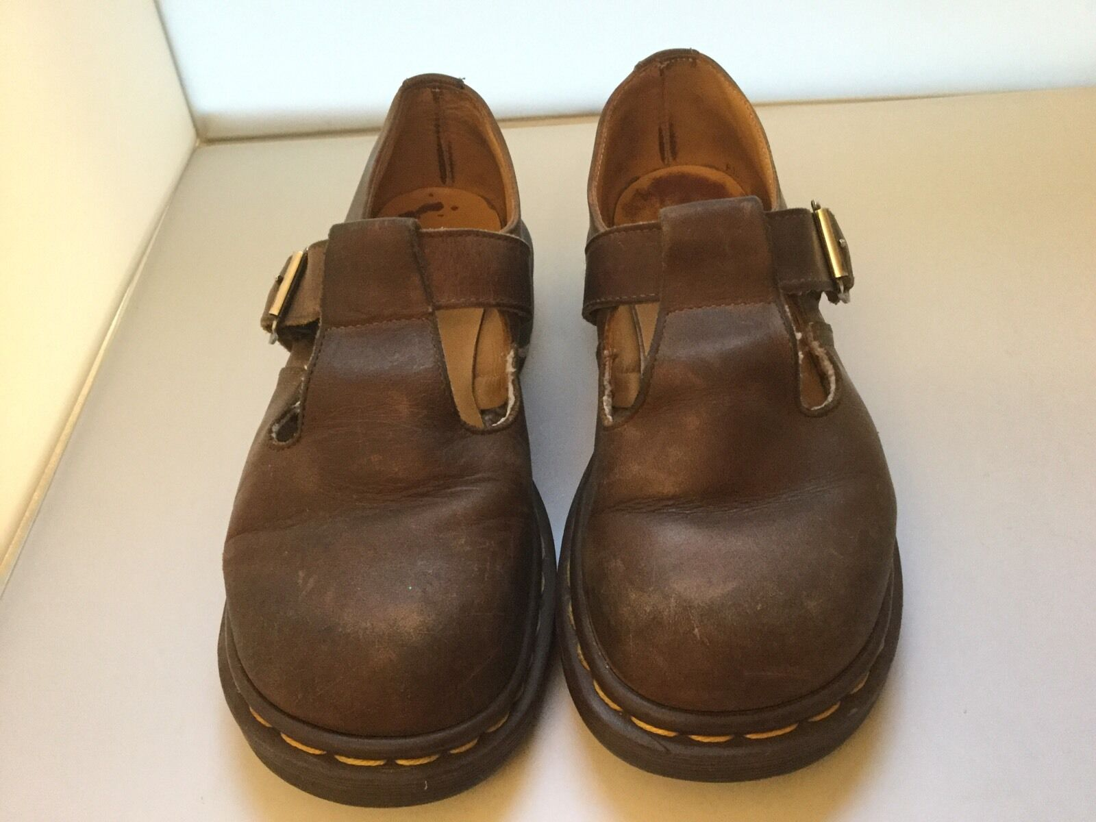 Dr. Martens Doc 6 Brown Leather Mary Jane T Bar Strap Vtg 90s Babydoll Grunge