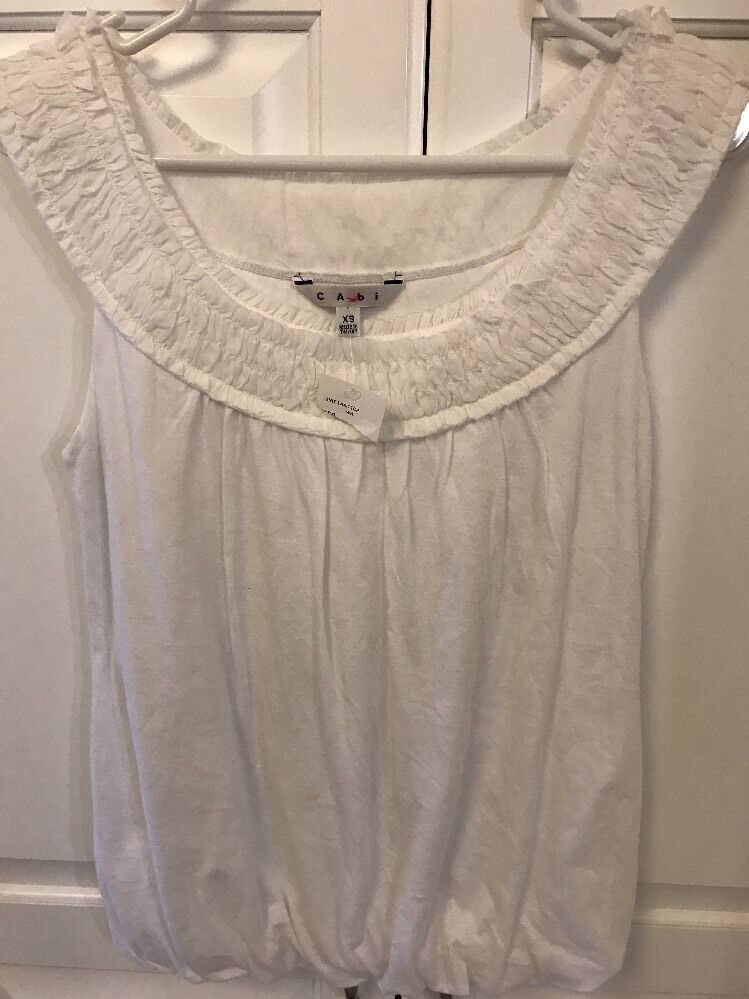 CAbi Never Worn Weiß Gatherot Trim Knit Tank Top Größe XS