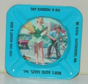 Bobs Auto Sales >> Details About Vintage Pinup Girl Gga Bob S Auto Sales Md Litho Tin Ashtray