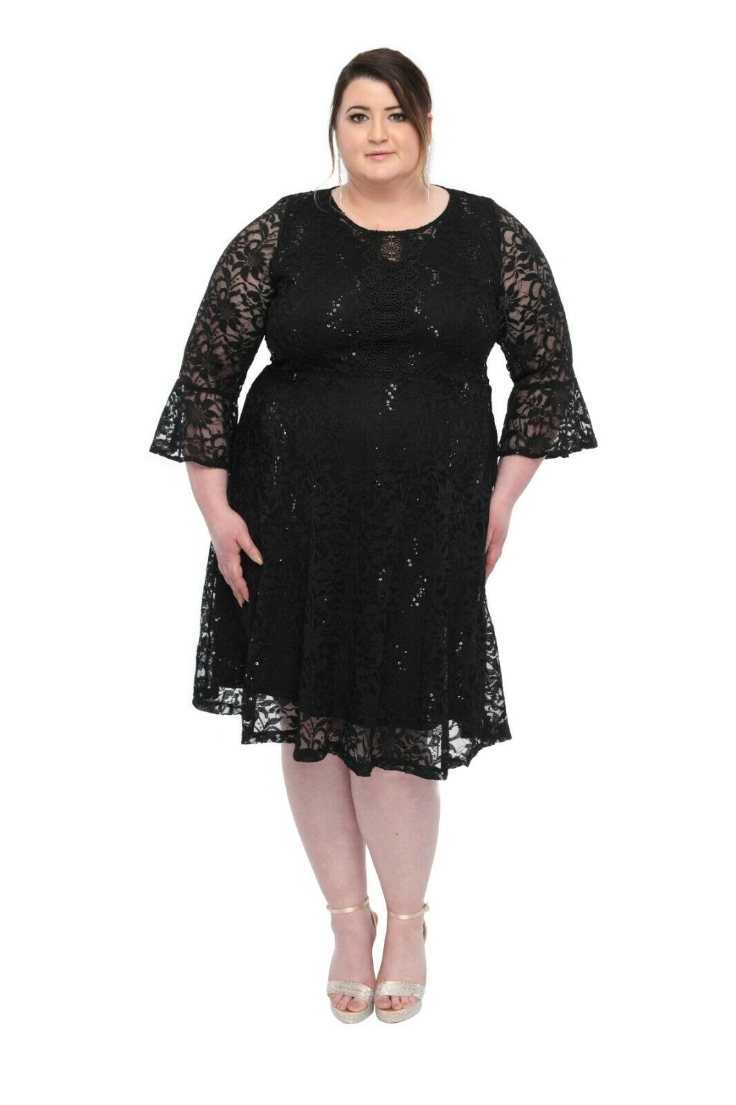 SleekTrends damen Plus Größe Sequin Lace Bell Sleeve Fit and flare Party Dress