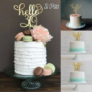 2-Pc-Gold-Happy-30th-40-50-60-Wedding-Birthday-Party-Cake-Topper-Cake-Decoration