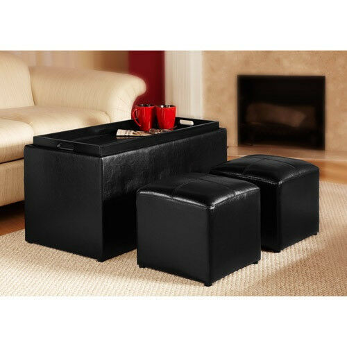 Black Coffee Table Storage Bench With 2 Ottoman Faux Leather Ships Free For Sale Online