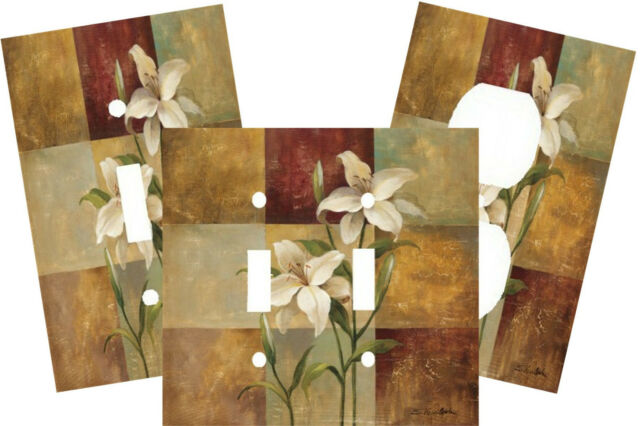 LILY PATCHWORK SQUARES FLOWER DUO LIGHT SWITCH PLATE COVER