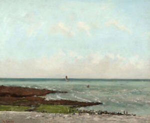 Laundresses at Low Tide Etretat Gustave Courbet Fine Art Painting Print Canvas S