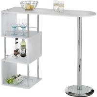 Breakfast Bar Table Kitchen Dining Modern Stylish Cafe White Party Storage Shelf