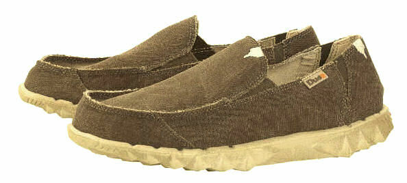 Dude Mens 'Farty' Slip On Canvas Shoes - Wenge Brown