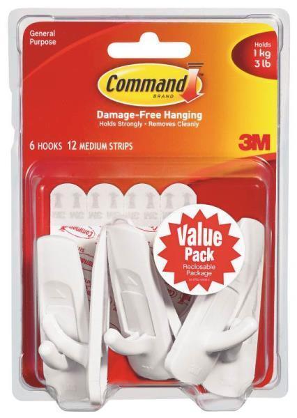 NE 3M COMMAND 17001-VP-6PK VALUE PACK ADHESIVE MEDIUM HANGER HOOKS STRIP 8991457