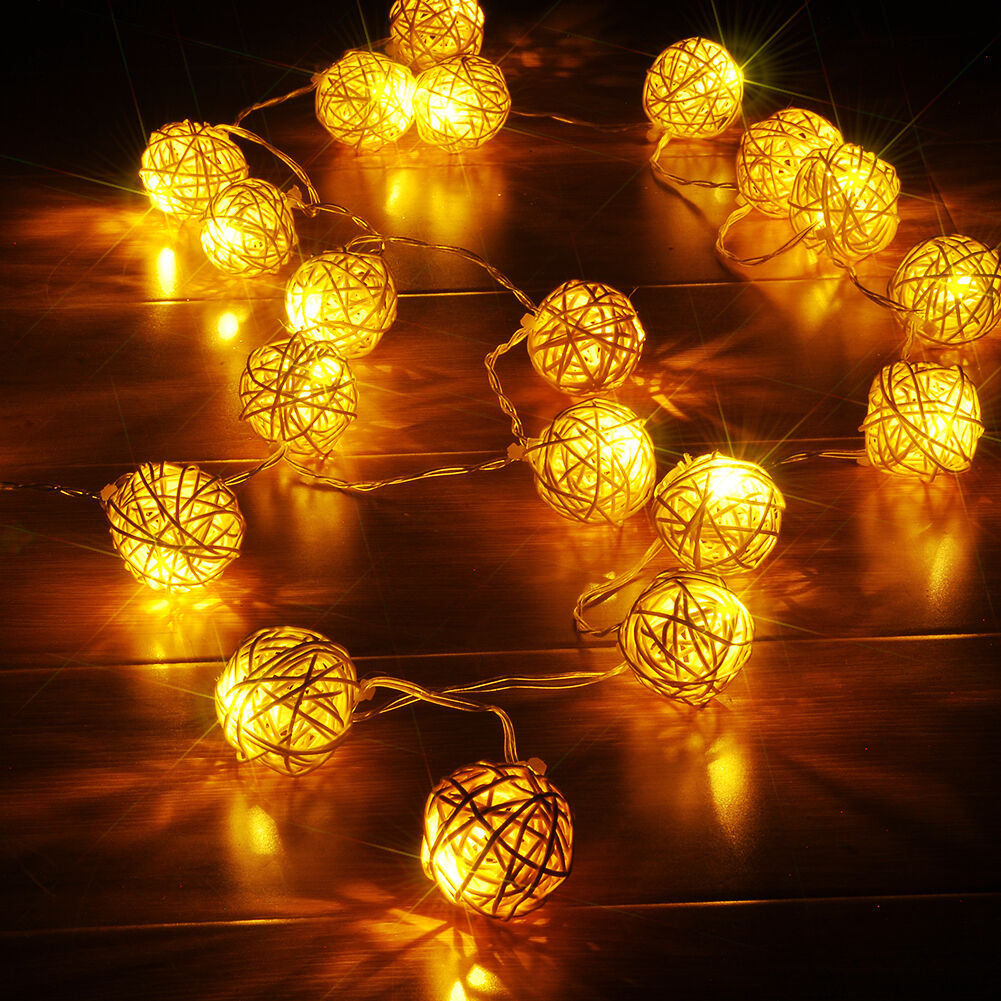 20 led kugel ball lichterkette schnur licht lichter weihnacht hochzeit deko bunt ebay. Black Bedroom Furniture Sets. Home Design Ideas
