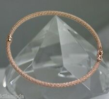 ITALIAN Beauty Solid 14K Pink Rose MESH Gold Bangle Bracelet 3.59g Retail $895