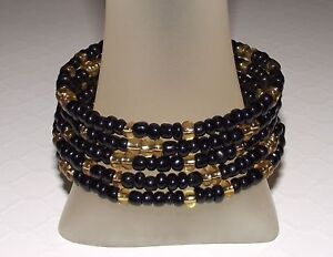 31f82eb909c2 BLACK and GOLD SHIMMER Glass Beaded Wrap   COIL   Bangle Bracelet ...