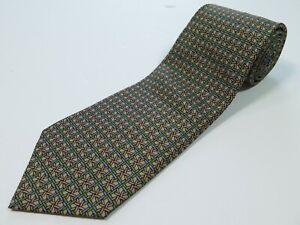 Hermes-Paris-France-7265-Pure-Silk-Interlocking-Round-Chain-Colorful-Necktie-EUC