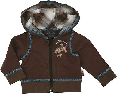 WRANGLER All Around Baby Infant Brown Horse Hooded Zipper Jacket PQK716E NWT