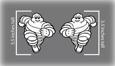 "2x 3.5"" Michelin Tires Man Bib Decal Stickers Belly Pan Track Bike Fender MotoGP"