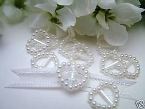 IVORY PEARL HEART SHAPED RIBBON SLIDER//BUCKLES –WEDDING INVITATION