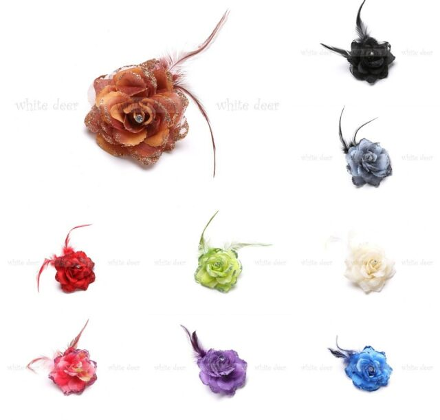 Lady Feather Rose Flower Brooch Pin Clip Glitter Hair Headdress Rhinestone