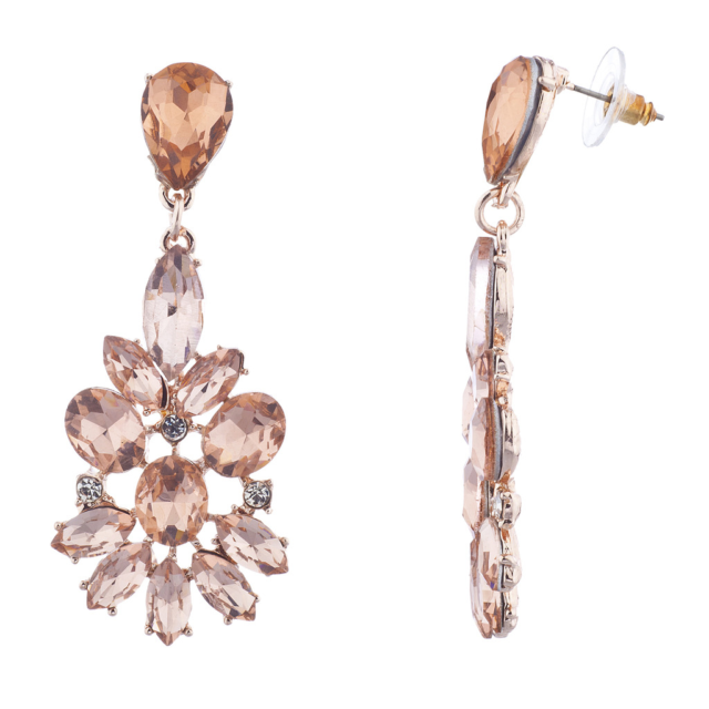 Lux Accessories Rose Gold Pink Special Occasion Floral Flower Statement Earrings