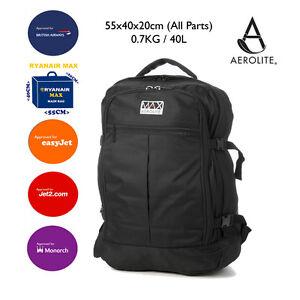 aerolite max backpack ryanair 55x40x20cm approved cabin hand luggage rucksack ebay. Black Bedroom Furniture Sets. Home Design Ideas