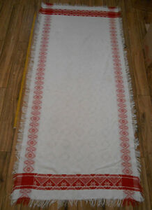 Antique TABLECLOTH Hand Woven Cotton cloth Ukraine 1,1x2,2m Great condit. 30%OFF
