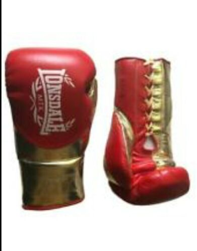 LONSDALE L60 MTK BOXING GLOVES RED//GOLD 10oz LACE UP BRAND NEW