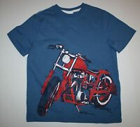 Next Uk Motorcycle Front And Back Blue Top Tee Shirt Size 9 Year 134 Cm