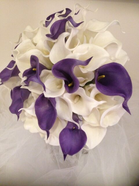 Artifical FLOWERS BOUQUETS 'Real Touch CALLA LILY WEDDING IVORY & PURPLE 54 Stem