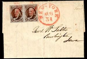 US #1a 1847 5c Pair on Cover Aug 31, 1848 PSAG Cert CV $2,400+ . KP-064
