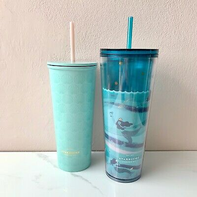 2020 Starbucks Anniversary Seashell Stainless /& Swimming Siren Cold Cup Set of 2