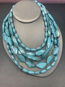 Imitation turquoise Lucite multi strand signed Mark blue necklace 16-20""